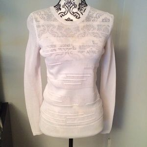 Vince. White Woven Sweater